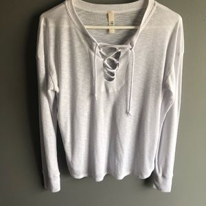 Jolie White Thermal Lace Up Front Long Sleeve Top